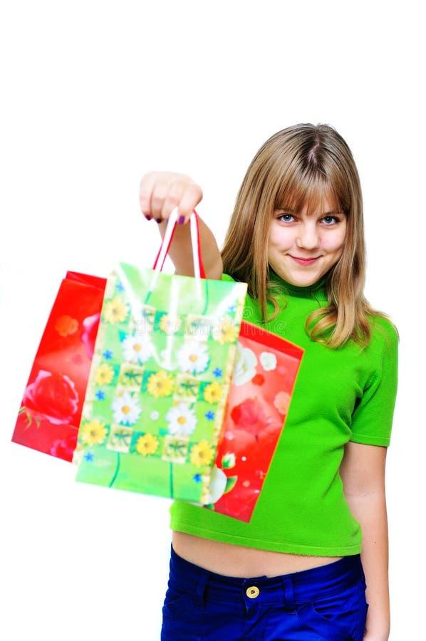 Fille d'achats heureuse image libre de droits