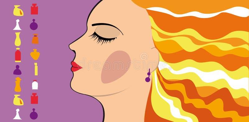 Fille d'achats, parfum illustration stock