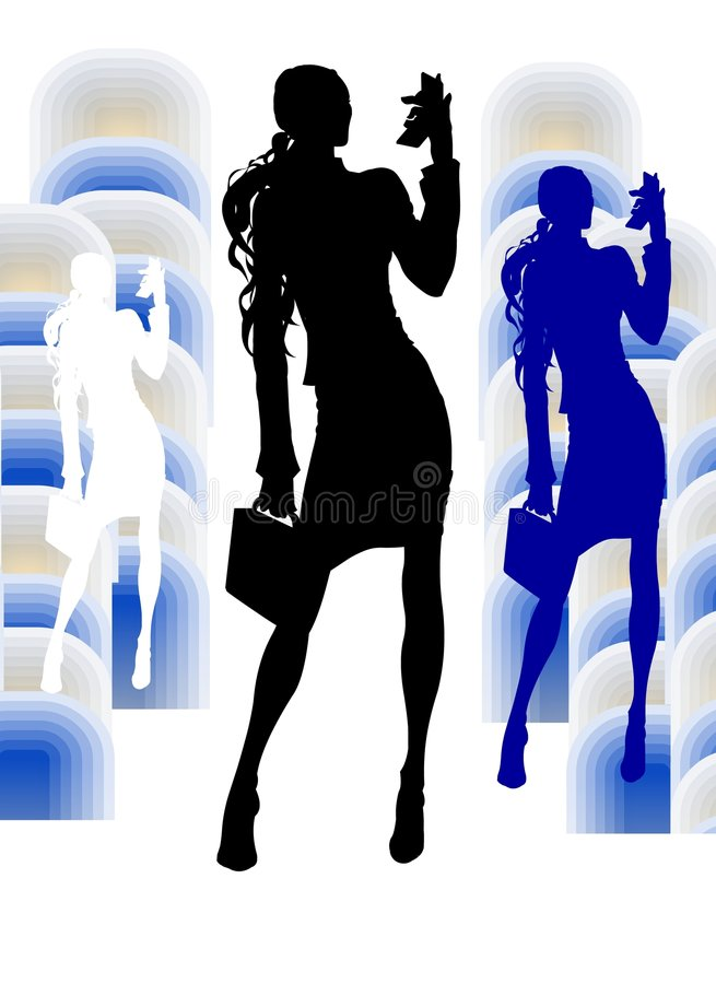 Fille d'affaires avec le visiophone illustration stock