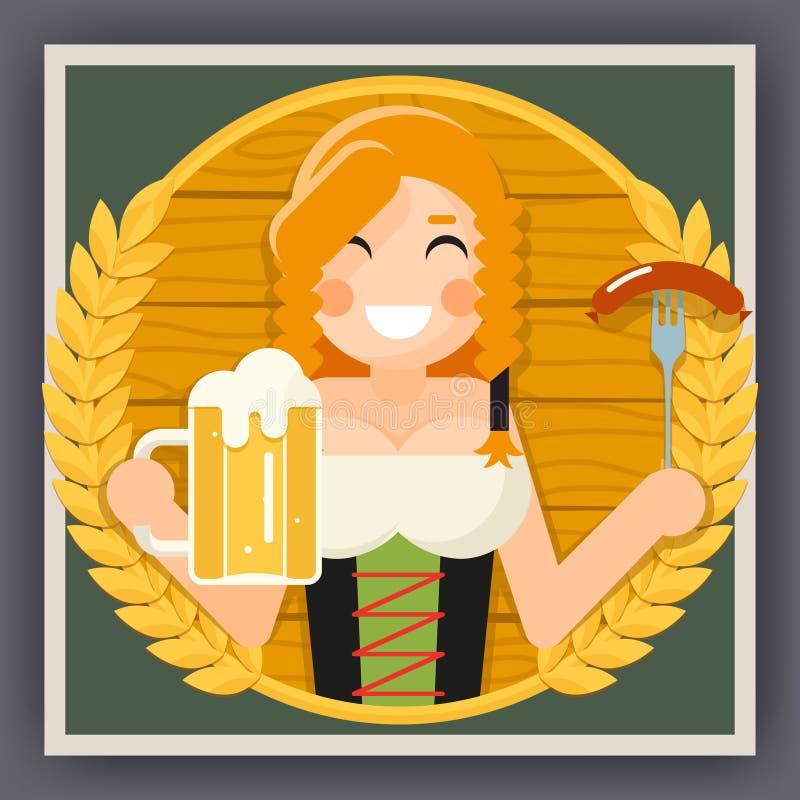 Fille d'affiche d'Oktoberfest avec l'illustration plate de vecteur de conception de symbole de célébration de festival de bière illustration libre de droits