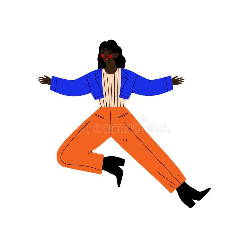 Fille d'afro-américain sautant heureusement célébrant l'événement important, soirée dansante, amitié, vecteur de concept de sport illustration libre de droits