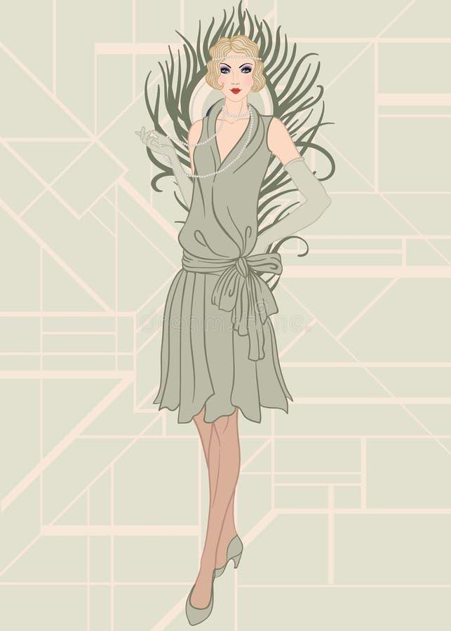 Fille d'aileron : Rétro conception d'invitation de partie illustration libre de droits