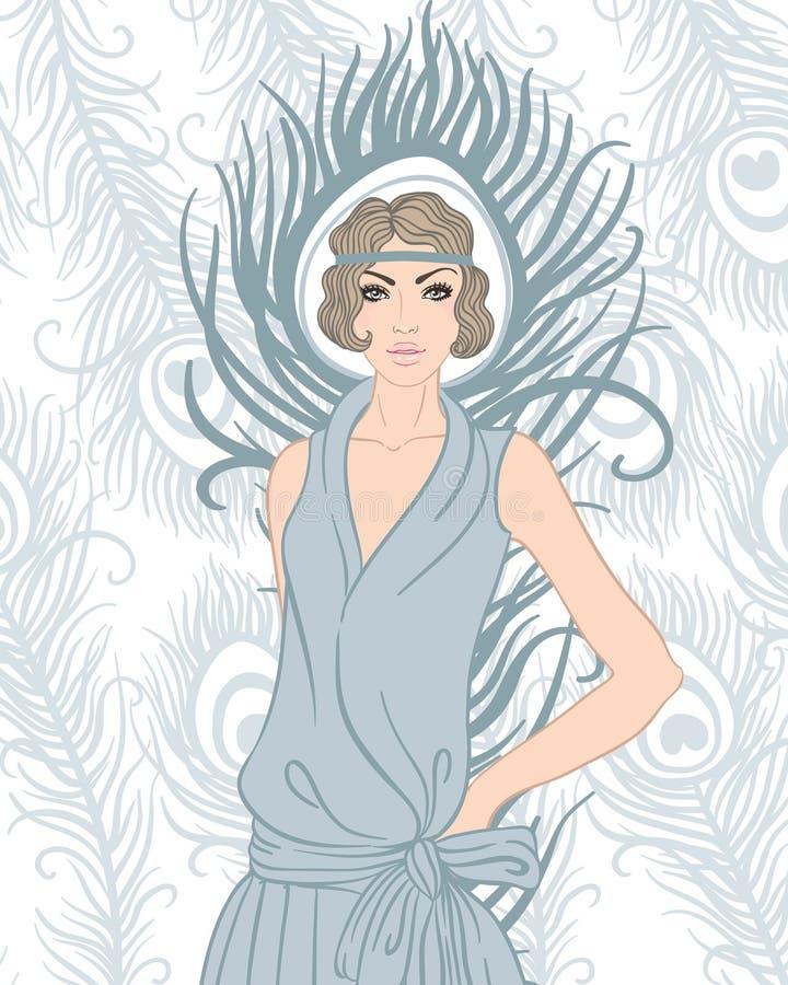 Fille d'aileron : Rétro conception d'invitation de partie illustration stock
