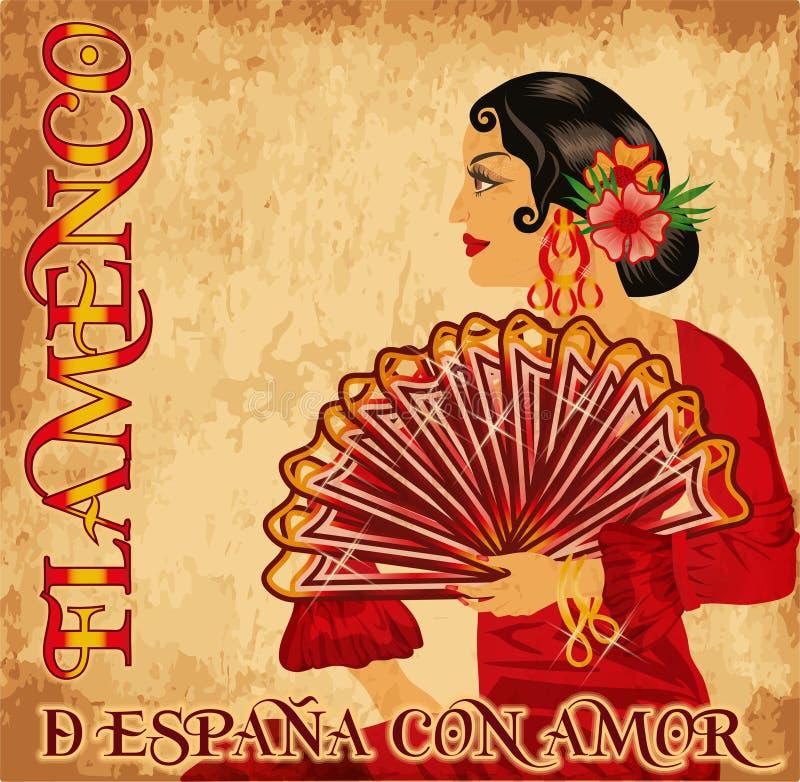 Fille d'amour de l'Espagne de flamenco, carte de cru illustration de vecteur