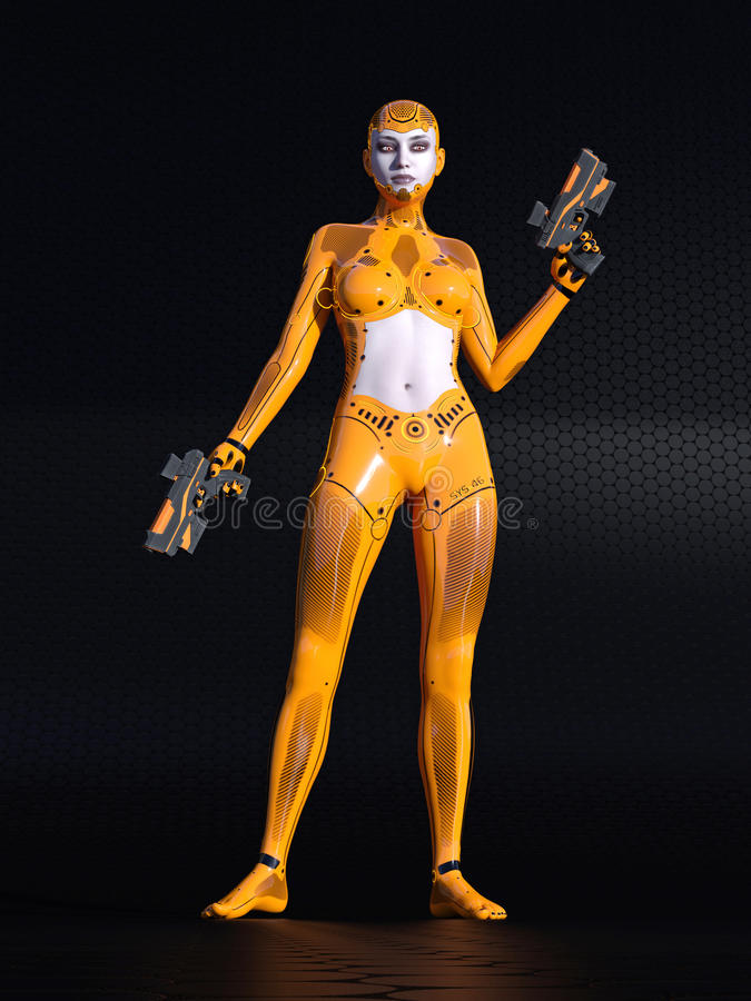 Fille d'Android, cyborg humain féminin dans l'environnement noir du sci fi, illustration 3D illustration de vecteur