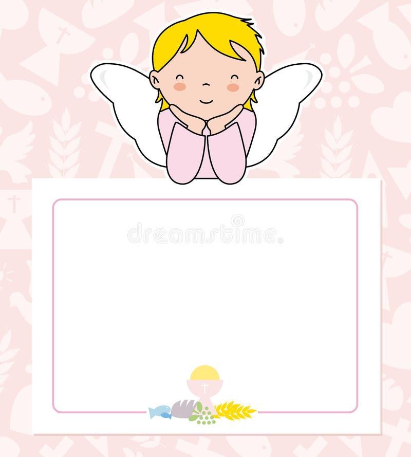 fille d'ange avec des ailes sur l'affiche illustration de vecteur