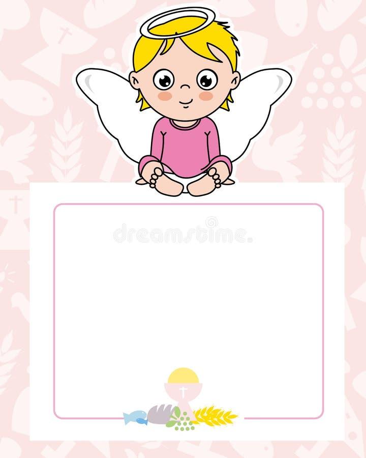 Fille d'ange de carte de communion illustration stock