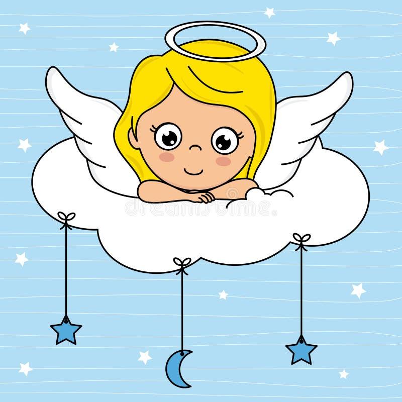 Fille d'ange sur un nuage illustration stock