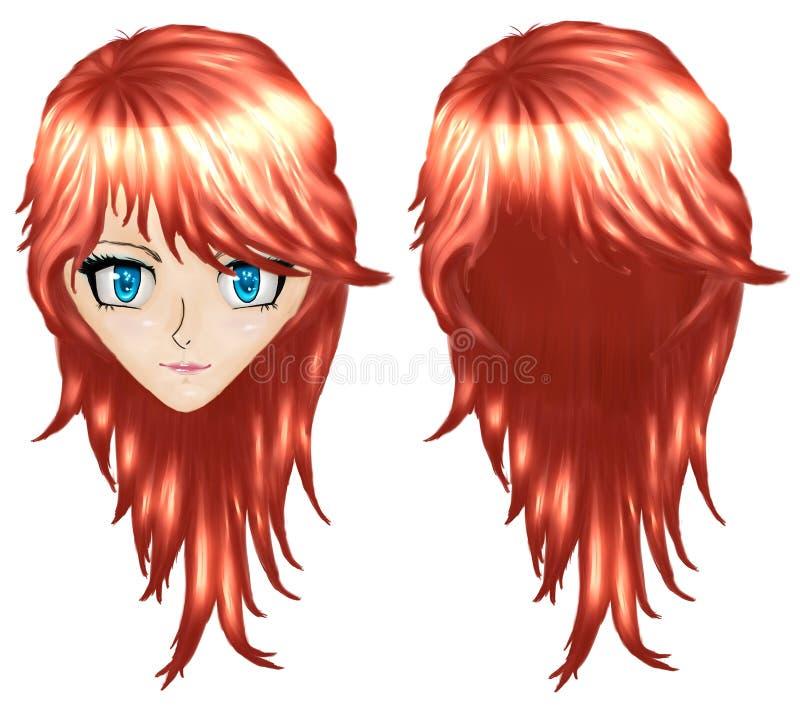 Fille d'Anime avec les cheveux rouges illustration stock