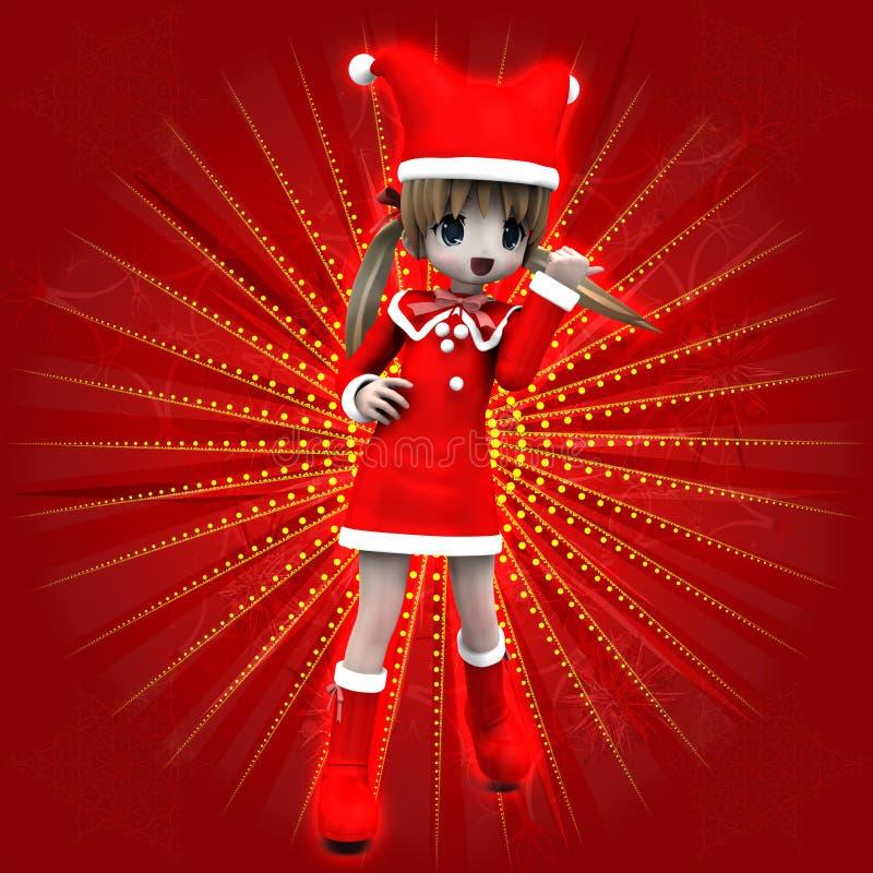 Fille d'Anime dans la robe de Noël illustration de vecteur