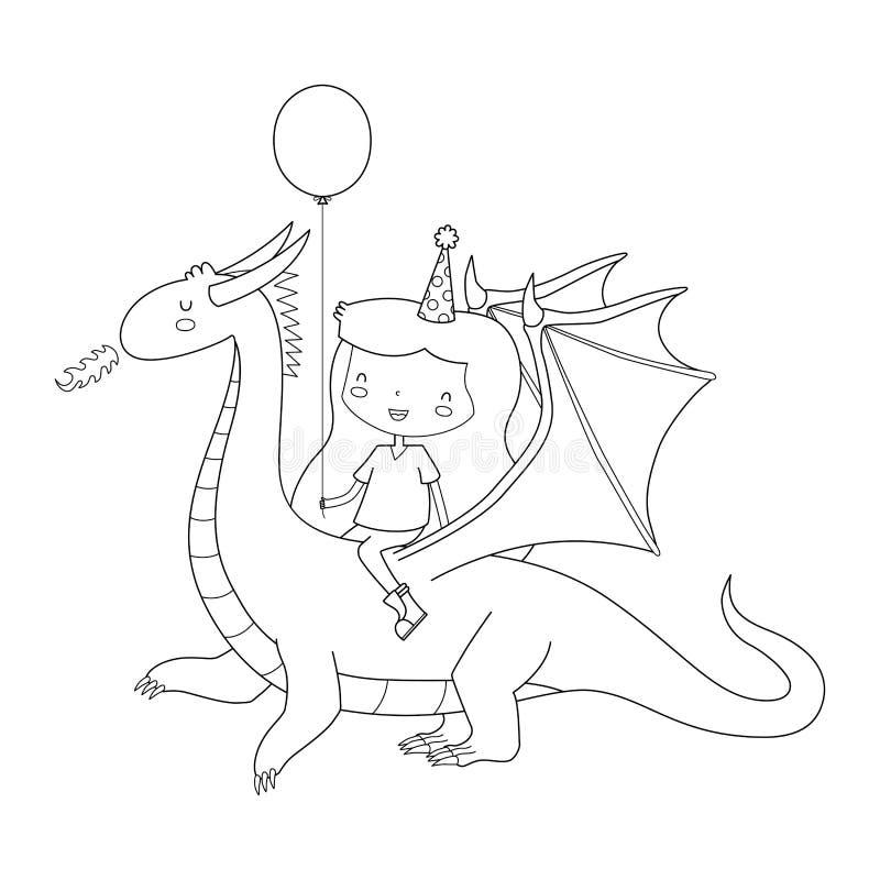 Fille d'anniversaire sur le dragon illustration de vecteur