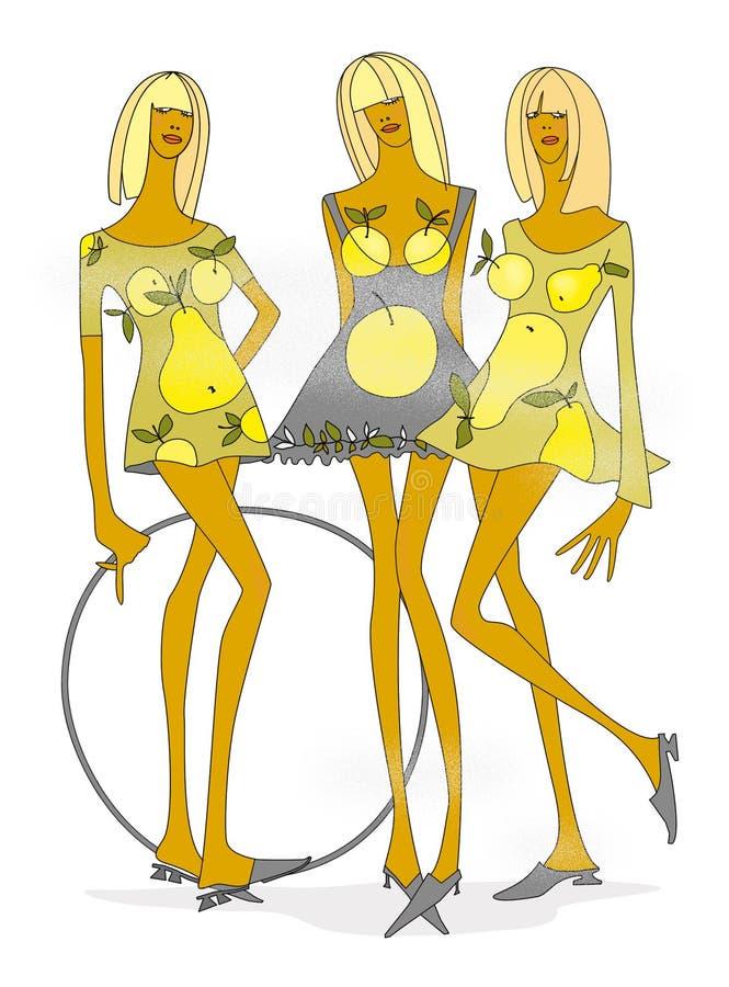 fille d'Apple-poire Fille trois dans la robe d'Apple-poire de modèle avec le cercle photos libres de droits