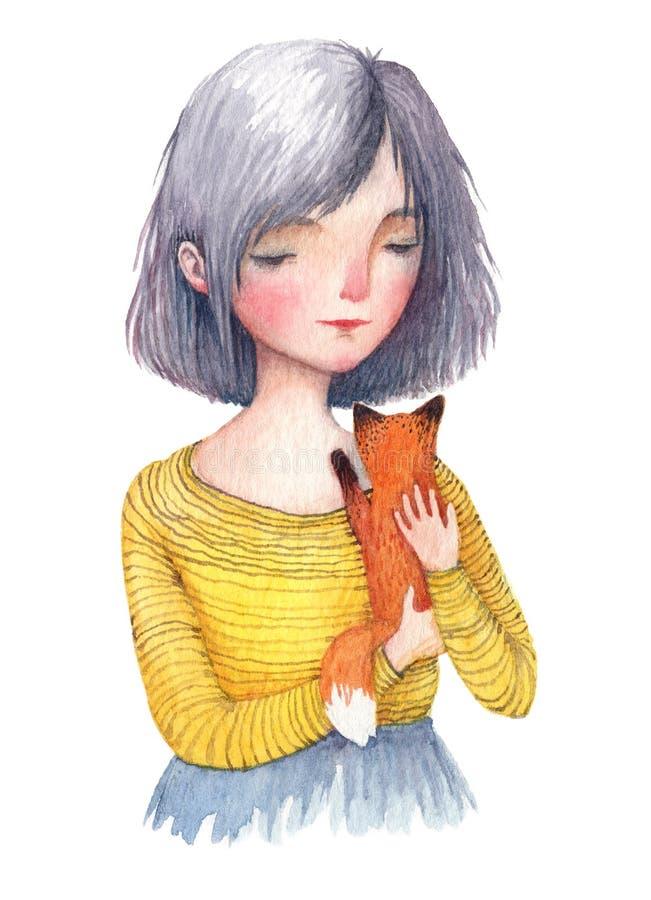 Fille d'aquarelle tenant un renard de bébé Un portrait d'isolement sur le fond blanc illustration libre de droits