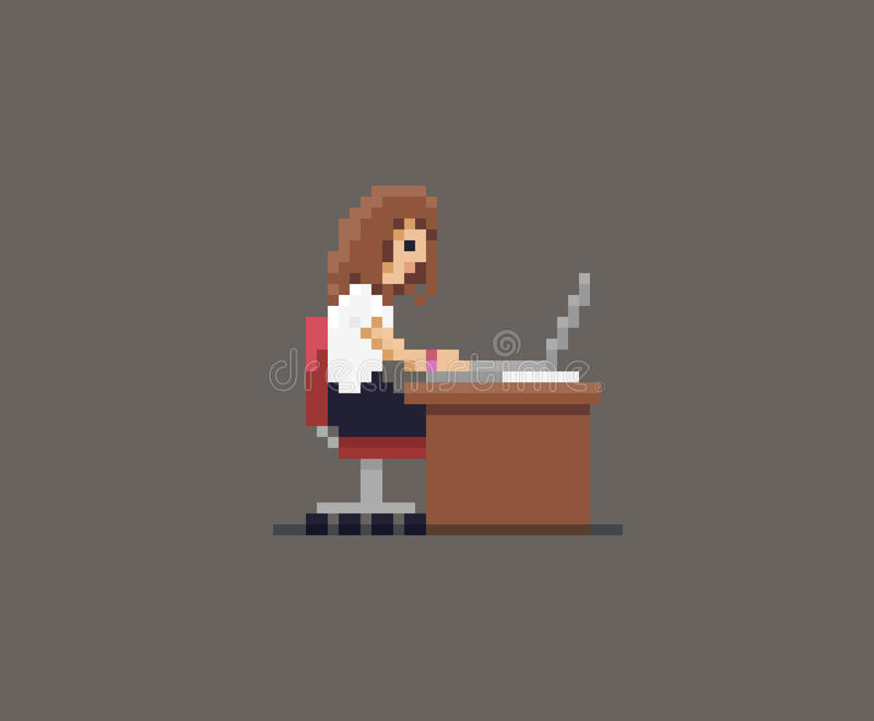 Fille d'art de pixel illustration stock