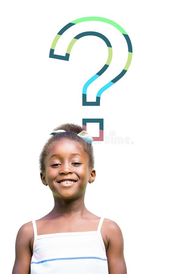 Fille d'enfant avec le point d'interrogation coloré photos libres de droits