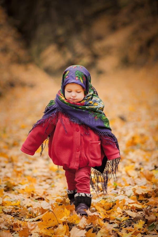 Fille d'enfant dans l'écharpe folklorique ukrainienne photographie stock