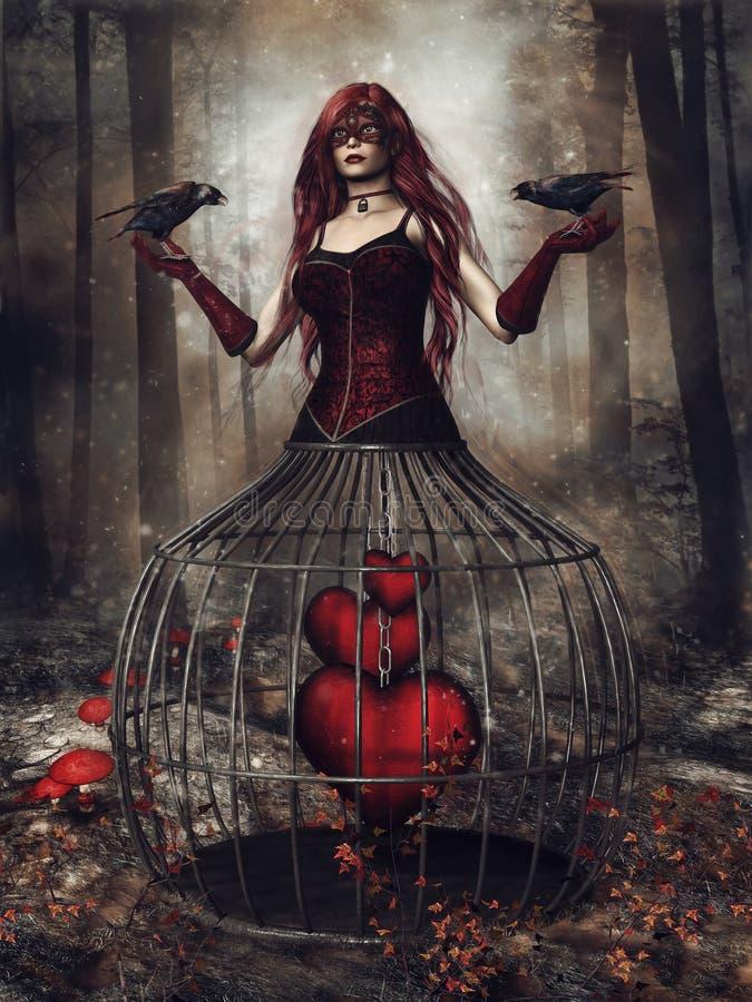 Fille d'imagination avec des corbeaux et des coeurs illustration libre de droits