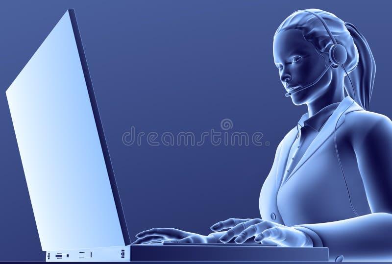 Fille d'ordinateur illustration de vecteur
