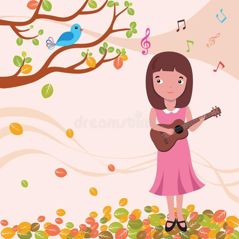 Fille d'ukulélé chantant dans l'illustration d'automne illustration libre de droits