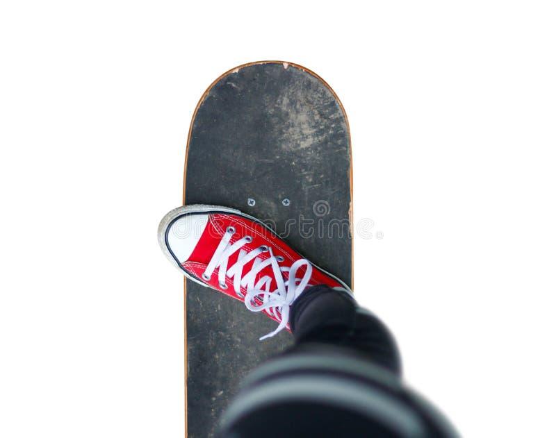 Fille dans des espadrilles rouges sur une planche à roulettes Pieds sur une planche à roulettes sapins images libres de droits