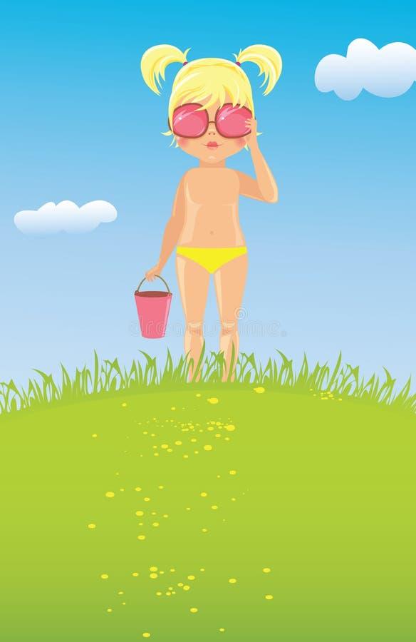 Fille dans des lunettes de soleil sur la pelouse illustration stock