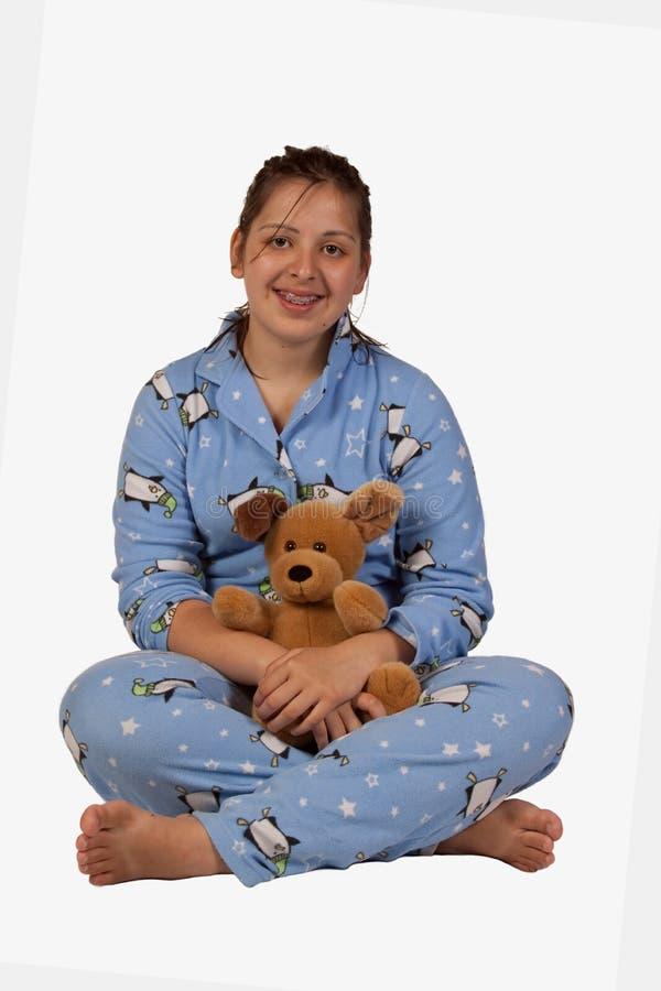Fille dans des pyjamas image stock