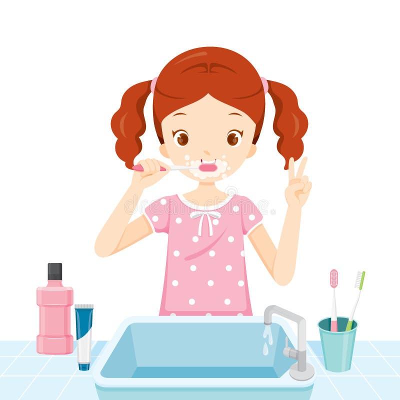 Fille dans des pyjamas se brossant les dents dans la salle de bains illustration de vecteur