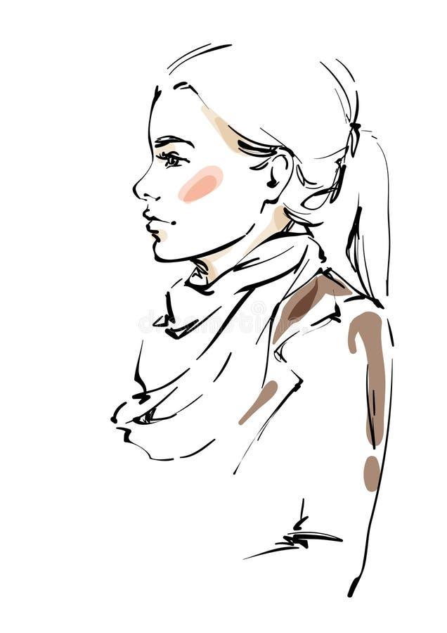Fille dans des vêtements d'automne illustration stock