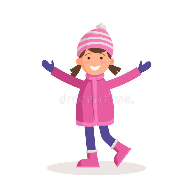 Fille dans des vêtements d'hiver illustration de vecteur