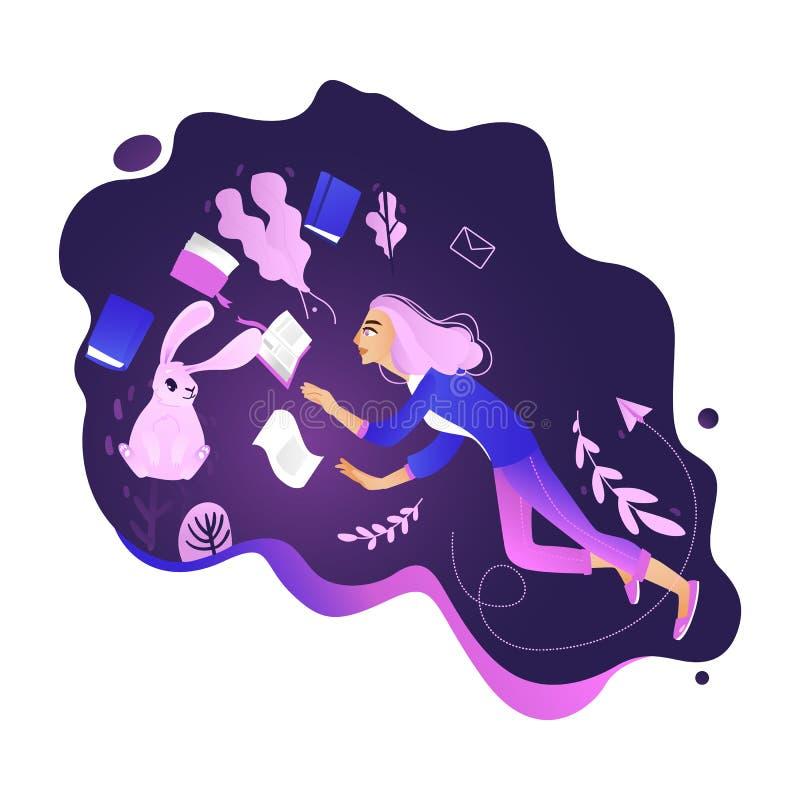 Fille dans l'environnement de l'information - la jeune femme vole dans l'apesanteur entourée par des livres illustration de vecteur