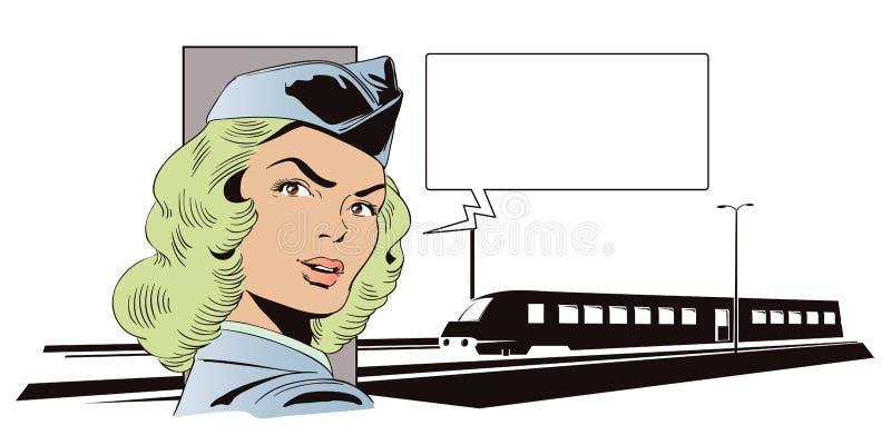 Fille dans l'uniforme du conducteur de train Les gens dans le rétro style illustration libre de droits