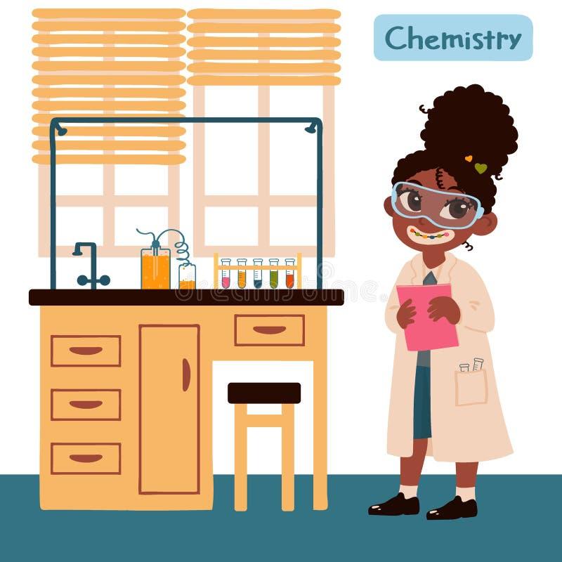 Fille dans la classe de chimie Meubles réglés pour la classe de chimie Illustration de vecteur dans la bande dessin?e illustration de vecteur