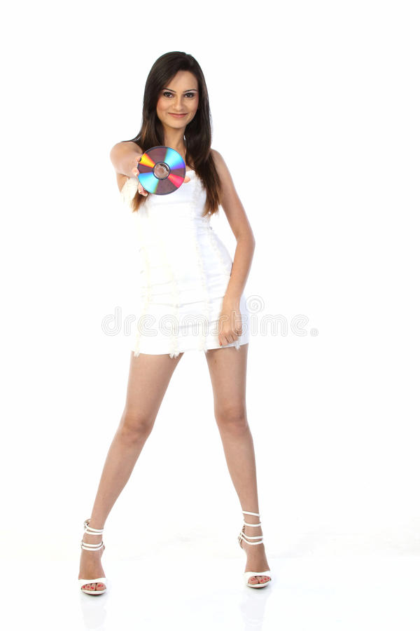 fille dans la fixation dvd de mini jupe photo stock image du jupe people 14761544. Black Bedroom Furniture Sets. Home Design Ideas