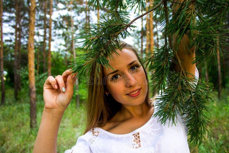 Fille dans la forêt photos stock