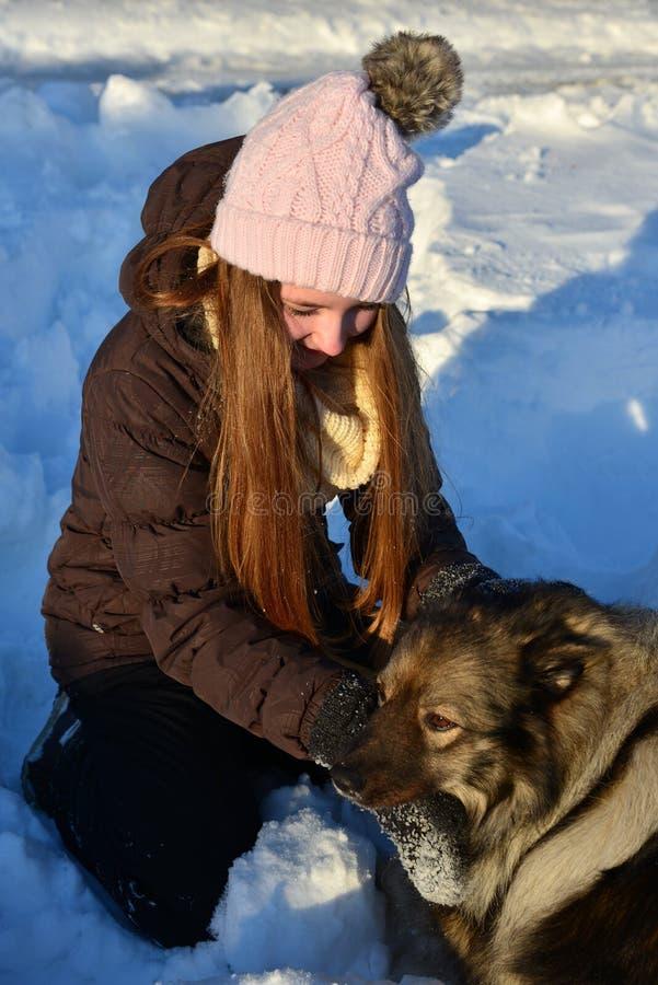 Fille dans la neige et le chien images stock