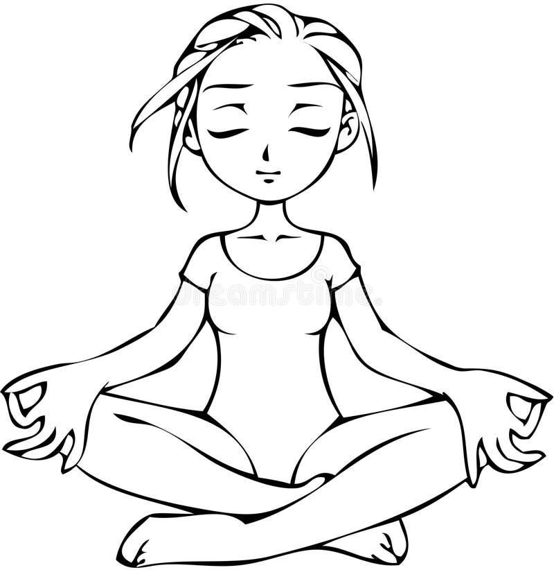 Fille dans la pose de yoga illustration libre de droits