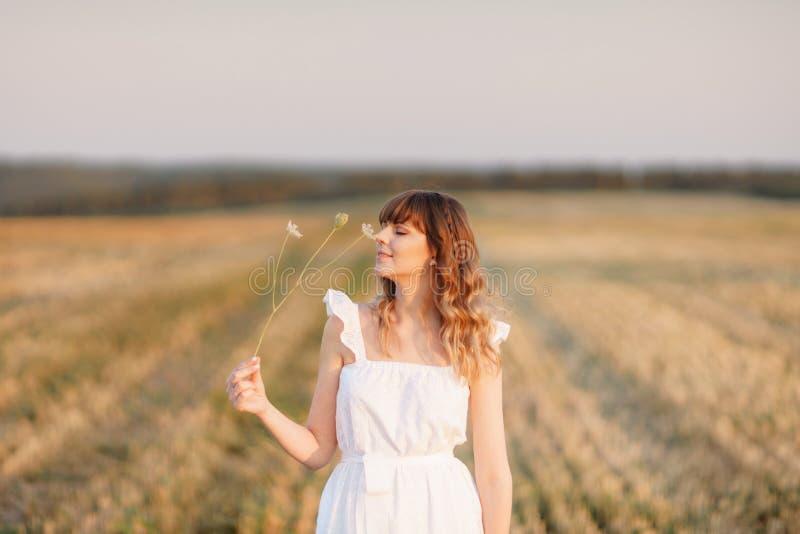 Fille dans la robe blanche avec des épillets Femme dans le domaine, endroit pour le texte Transitoire et fille dans le domaine Fi photographie stock