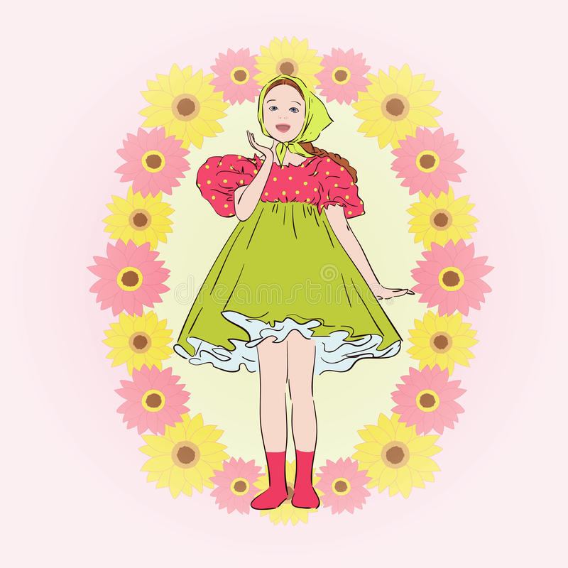 Fille dans la robe de folklore illustration stock