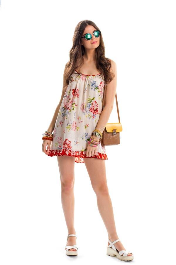 Fille dans la robe florale sans manche images stock