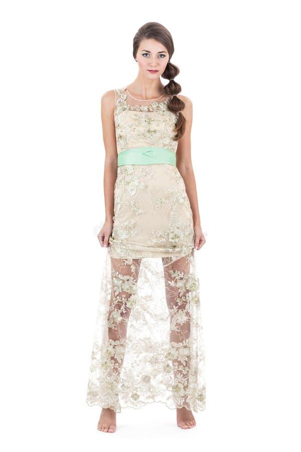 Fille dans la robe transparente images libres de droits