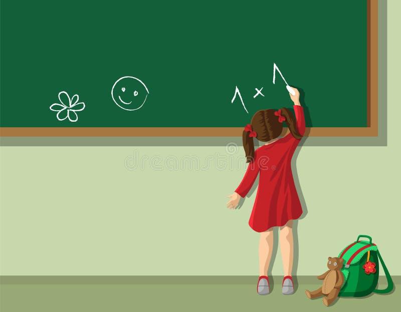 Fille dans la salle de classe illustration de vecteur