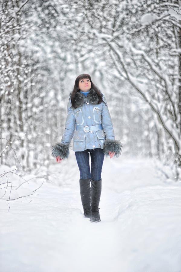Fille dans la scène de neige de régfion boisée images libres de droits