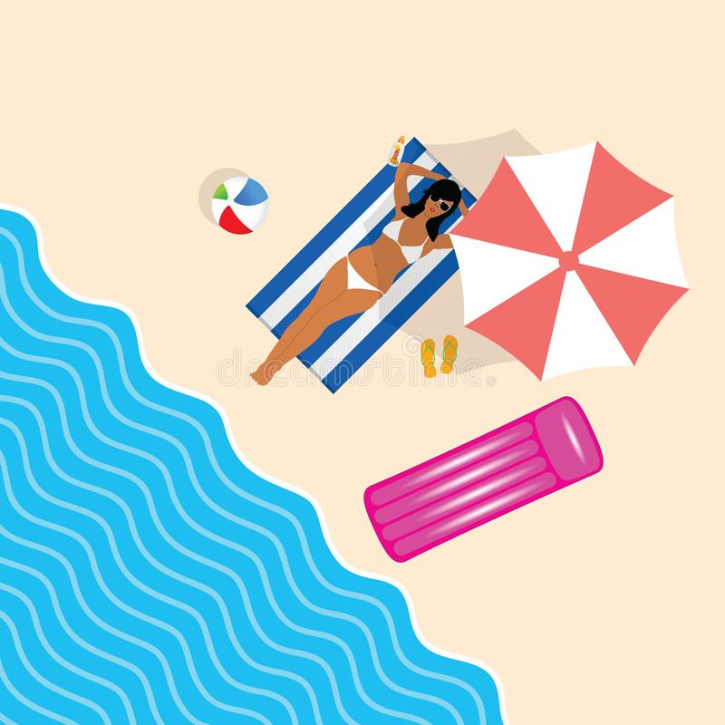 Fille dans le bikini sur l'illustration de loisirs de paradis de plage illustration de vecteur
