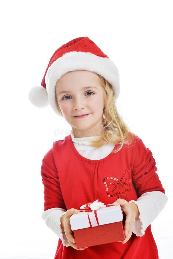 Fille dans le capuchon de Santa photographie stock