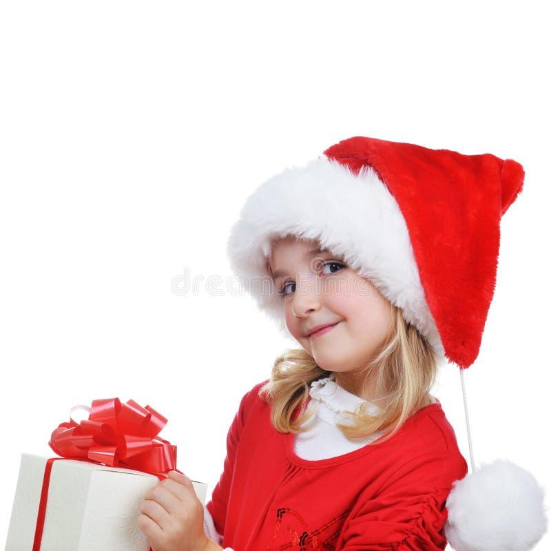Fille dans le capuchon de Santa images stock