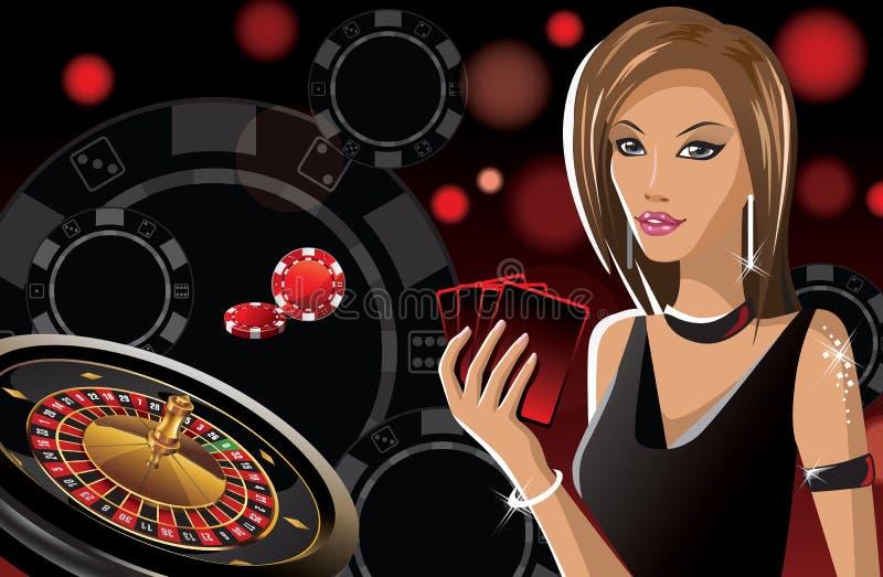 Fille dans le casino illustration stock