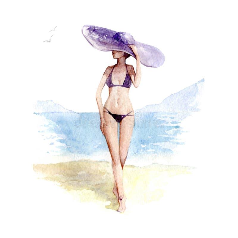 Fille dans le chapeau de paille et le maillot de bain sur la plage, illustration d'aquarelle sur le fond blanc illustration libre de droits