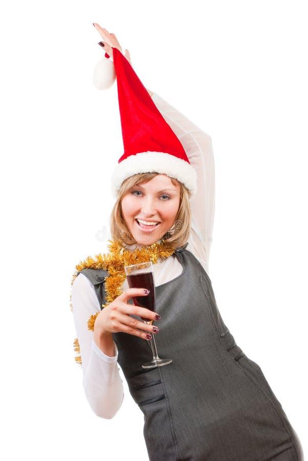 Fille dans le chapeau de Santa images libres de droits