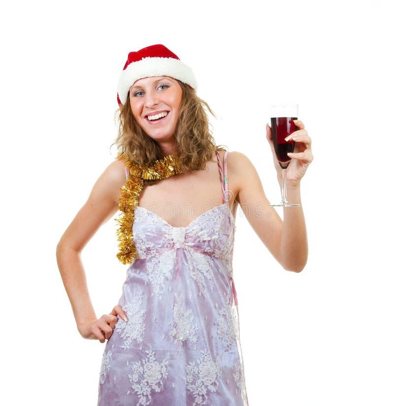 Fille dans le chapeau de Santa photo stock