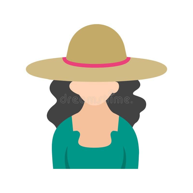Fille dans le chapeau occasionnel illustration de vecteur